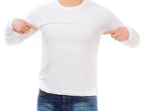 Man in a white shirt with long sleeves Stock Image