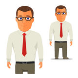 Man in White shirt with red tie Cartoon Character. Vector Stock Photo
