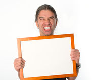 Man with white signboard Royalty Free Stock Photo