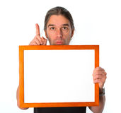 Man with white signboard Stock Photography