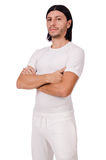 A man in white sportswear isolated on white Stock Photos