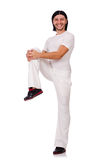 A man in white sportswear isolated on white Stock Photo