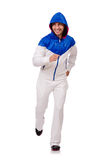 A man in white sportswear isolated on white Stock Image