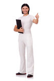 A man in white sportswear isolated on white Stock Images