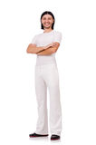 A man in white sportswear isolated on white Royalty Free Stock Photography
