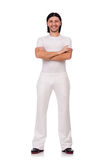 A man in white sportswear isolated on white Stock Photography