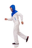 A man in white sportswear isolated on white Royalty Free Stock Photos