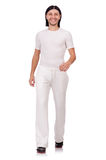 A man in white sportswear isolated on white Royalty Free Stock Image