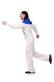 A man in white sportswear isolated on the white Royalty Free Stock Image