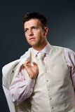 Man in white suit Royalty Free Stock Photography