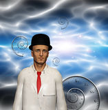 Man in white suit and time spirals Royalty Free Stock Images