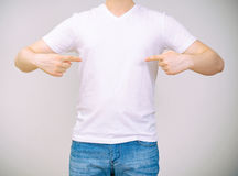 Man in white t-shirt. Royalty Free Stock Photos