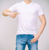 Man in white t-shirt. Royalty Free Stock Image