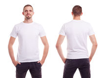 Man in white t-shirt. Young man in white t-shirt on white background Stock Image