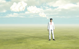 Man with white thought clouds Stock Photography