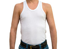 Man in white undershirt. Standing on white background royalty free stock photography