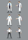 Man in White Uniform Occupation Vector Icon Set Royalty Free Stock Image