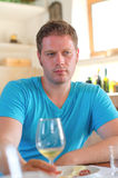 Man with white wine. Stock Photography