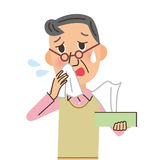 Man who blows his nose Royalty Free Stock Image