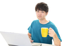 Man who enjoy the personal computer Stock Images