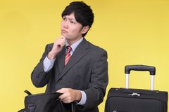 Man who forgot something. Man who is looking for something Royalty Free Stock Image