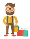 Man who go shopping. Royalty Free Stock Image