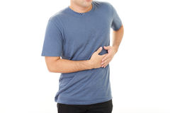 Man who has a stomachache Stock Images