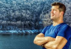Man who looks to the mountains Stock Images