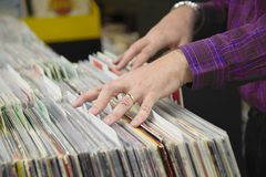 Collecting Vinyl in a record store Stock Photos