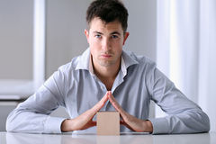 Man who offers security to your home insurance. Security and protection Stock Image
