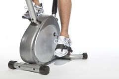 Man who pedal stationary bikes Stock Photo