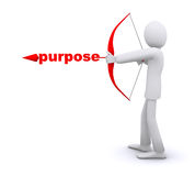Man who pulls an arrow bow, purpose. Man who pulls an arrow bow, arrowhead word is purpose royalty free stock photos