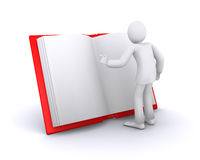Man who reads book. Man who reads big red book, finding of new information royalty free illustration