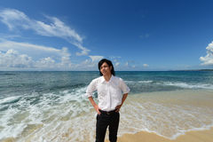 The man who relaxes on the beach. Royalty Free Stock Photo