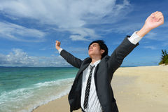 The man who relaxes on the beach. Royalty Free Stock Photos