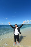 The man who relaxes on the beach. Stock Photography