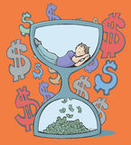A man who sleeps is a man who is wasting time. Colorful vector illustration of a man sleeping inside an hourglass, at the bottom is falling money. With dollar Royalty Free Stock Photos