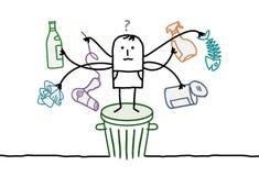 Man who sorts the trash. Hand drawn cartoon characters Royalty Free Stock Photos
