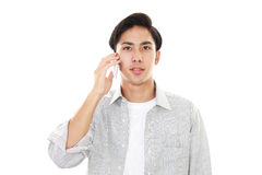 Man who is talking on a smart phone Stock Photo