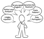 Man who wants to know what languages you speak. Vector illustration of a man who wants to know what languages you speak in different languages Stock Photos
