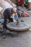 Man who work handcrafted Pottery on December 2, 2013 in Bhaktapu Royalty Free Stock Photography