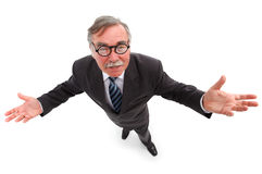 Man with wide open arms. Happy business man, scientist or professor with wide open arms Stock Photo