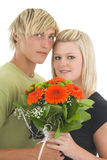 Man and wife with flower. Royalty Free Stock Photos