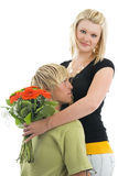 Man and wife with flower. Stock Photography