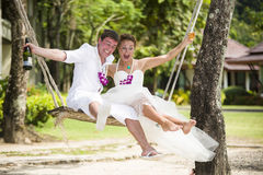 Man and wife after wedding ceremony Royalty Free Stock Images