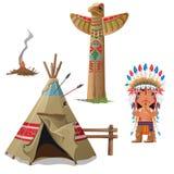 Man, wigwam, bird totem and fire. Indian set Royalty Free Stock Image