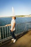 Man wiht Geneva Water jet Royalty Free Stock Photos