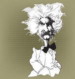 Man with wild hair and bow tie. White caricature off senior man with wild hair, hairy moustache and bow tie, isolated on plain background Royalty Free Stock Photo