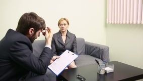 Man will interview business woman.  report to the Chief stock video footage