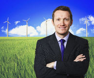Man and wind turbine Royalty Free Stock Images